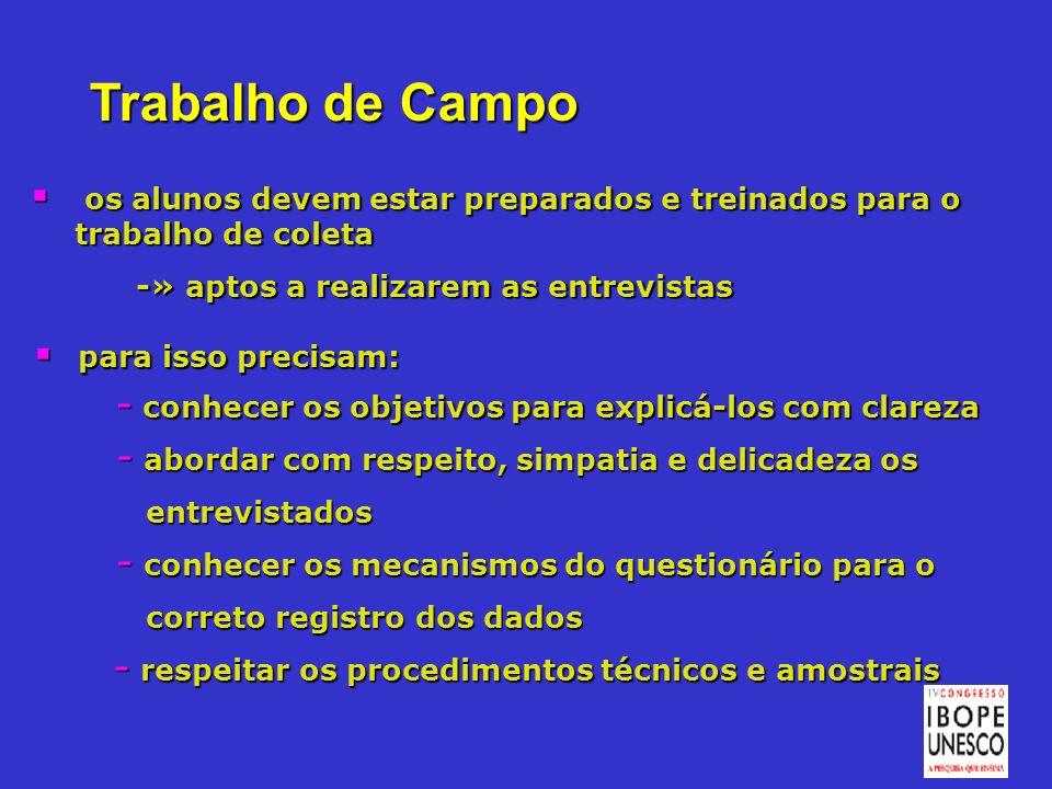 Trabalho de Campo os alunos devem estar preparados e treinados para o trabalho de coleta os alunos devem estar preparados e treinados para o trabalho