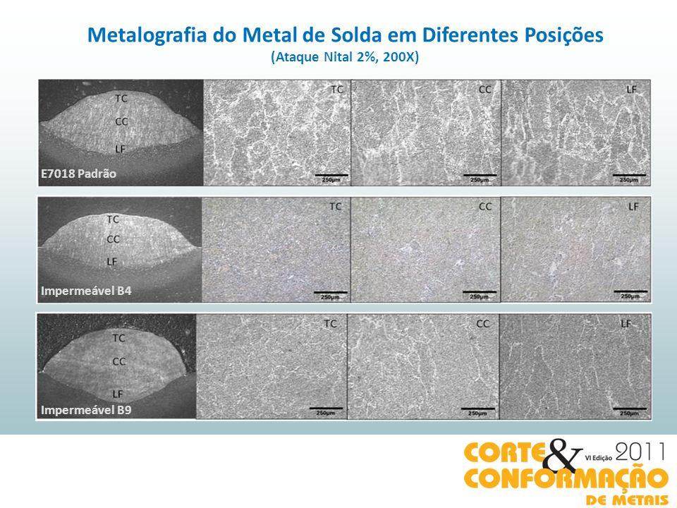 Metalografia do Metal de Solda em Diferentes Posições (Ataque Nital 2%, 200X) E7018 Padrão Impermeável B4 Impermeável B9