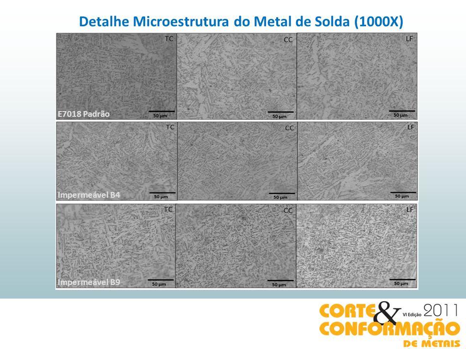 E7018 Padrão Impermeável B4 Impermeável B9 Detalhe Microestrutura do Metal de Solda (1000X)