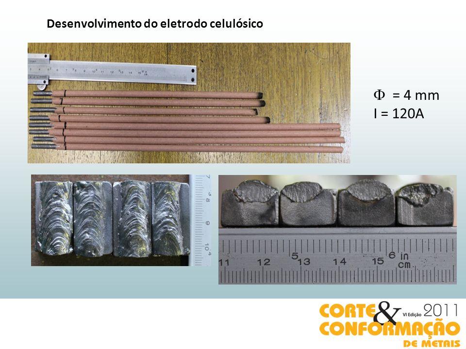 Desenvolvimento do eletrodo celulósico = 4 mm I = 120A