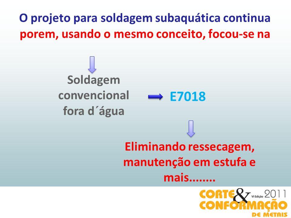 O projeto para soldagem subaquática continua Soldagem convencional fora d´água E7018 Eliminando ressecagem, manutenção em estufa e mais........ porem,