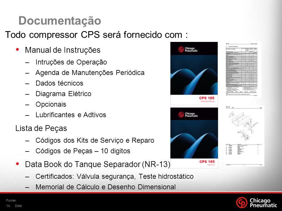 14. Footer Date Documentação Todo compressor CPS será fornecido com : Manual de Instruções –Intruções de Operação –Agenda de Manutenções Periódica –Da