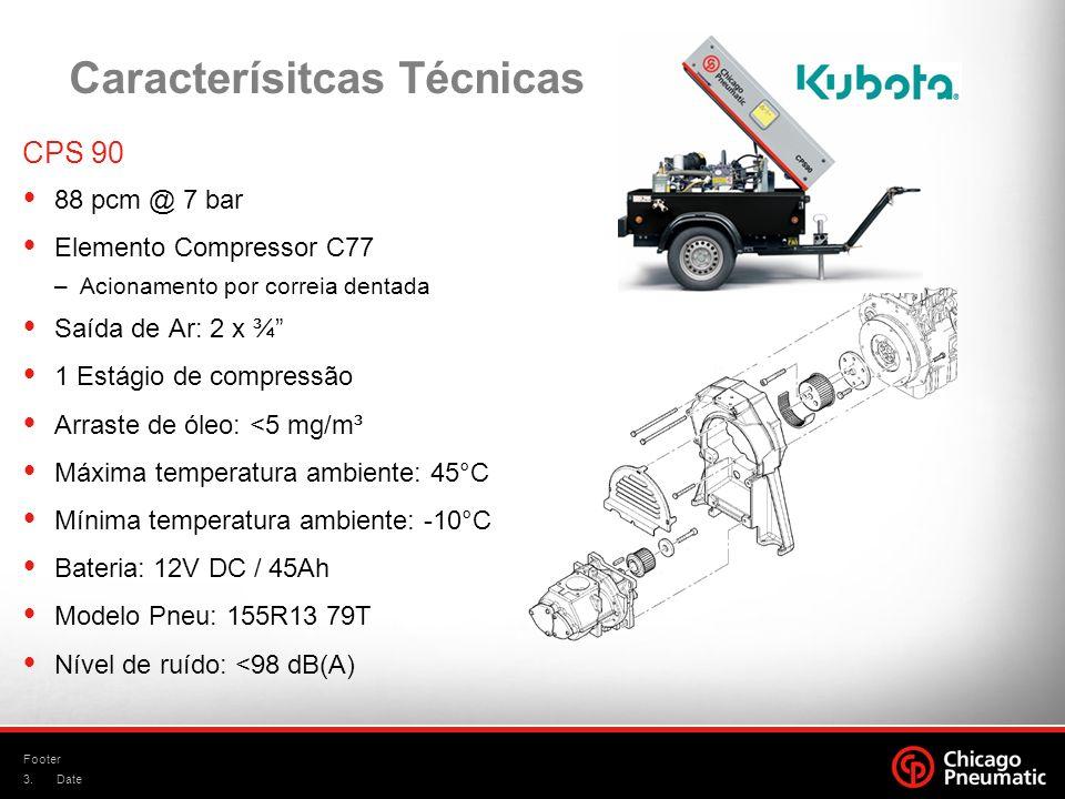 3. Footer Date Caracterísitcas Técnicas CPS 90 88 pcm @ 7 bar Elemento Compressor C77 –Acionamento por correia dentada Saída de Ar: 2 x ¾ 1 Estágio de