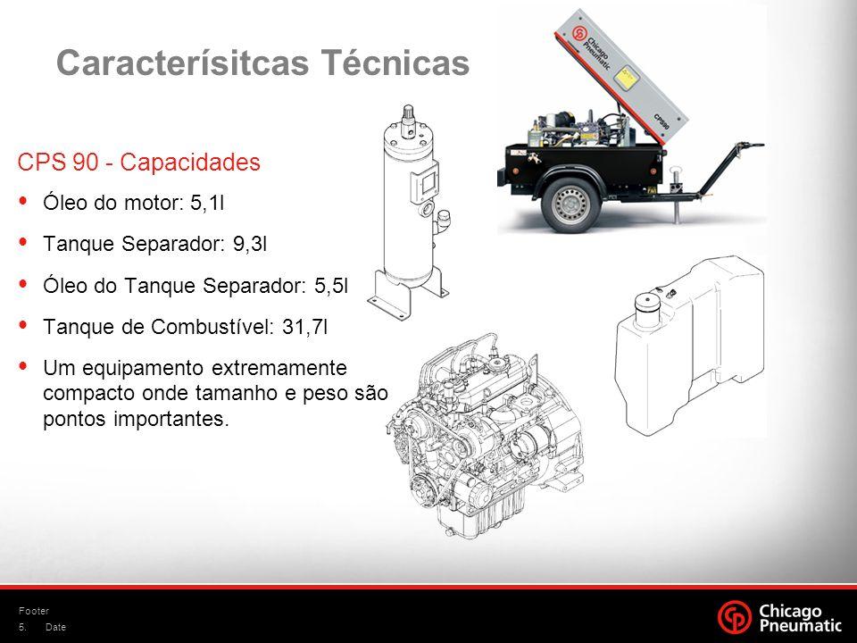 5. Footer Date CPS 90 - Capacidades Óleo do motor: 5,1l Tanque Separador: 9,3l Óleo do Tanque Separador: 5,5l Tanque de Combustível: 31,7l Um equipame