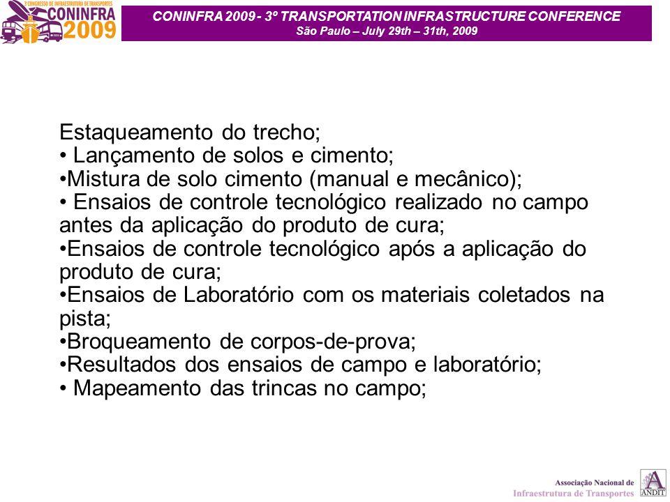 10 Estaqueamento do trecho; Lançamento de solos e cimento; Mistura de solo cimento (manual e mecânico); Ensaios de controle tecnológico realizado no c