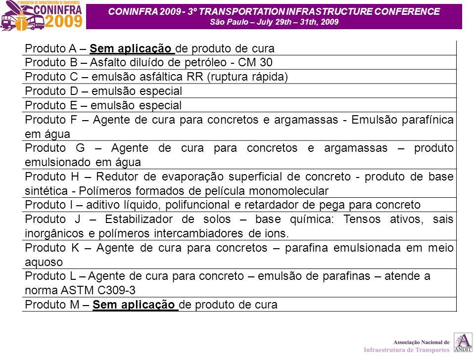 12 Produto A – Sem aplicação de produto de cura Produto B – Asfalto diluído de petróleo - CM 30 Produto C – emulsão asfáltica RR (ruptura rápida) Prod