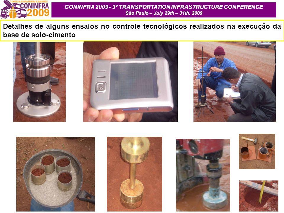 Detalhes de alguns ensaios no controle tecnológicos realizados na execução da base de solo-cimento CONINFRA 2009 - 3º TRANSPORTATION INFRASTRUCTURE CO