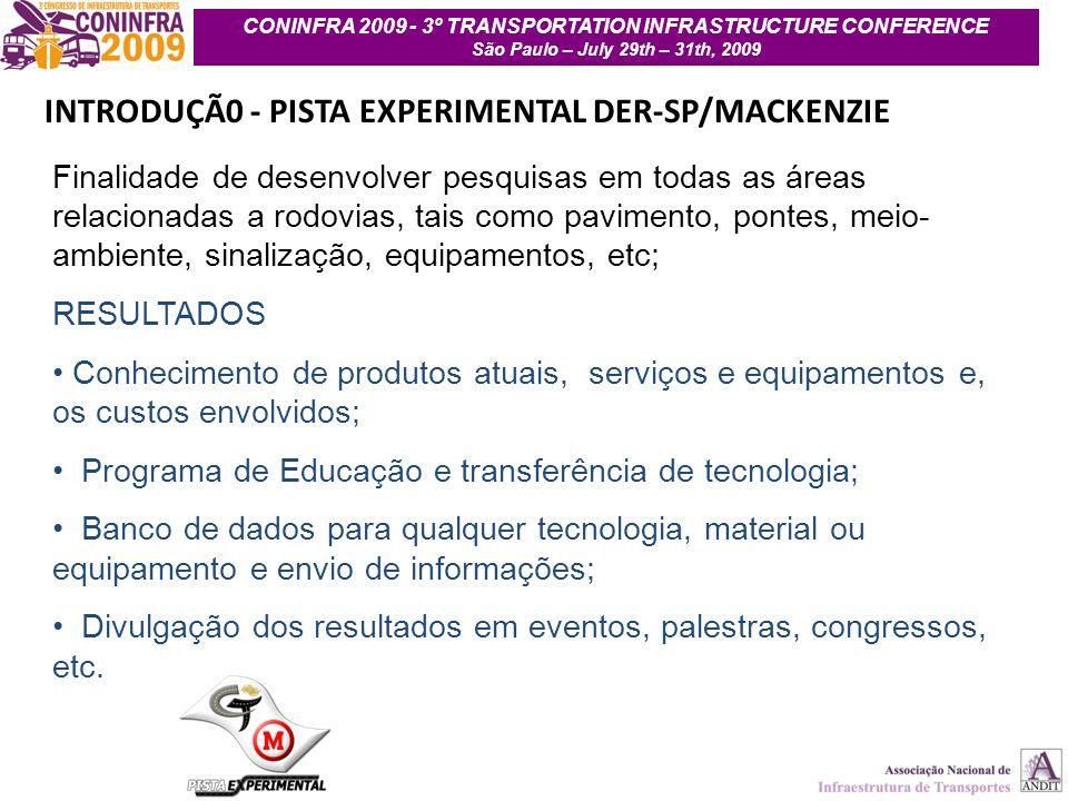 4 INTRODUÇÃ0 - PISTA EXPERIMENTAL DER-SP/MACKENZIE Finalidade de desenvolver pesquisas em todas as áreas relacionadas a rodovias, tais como pavimento,