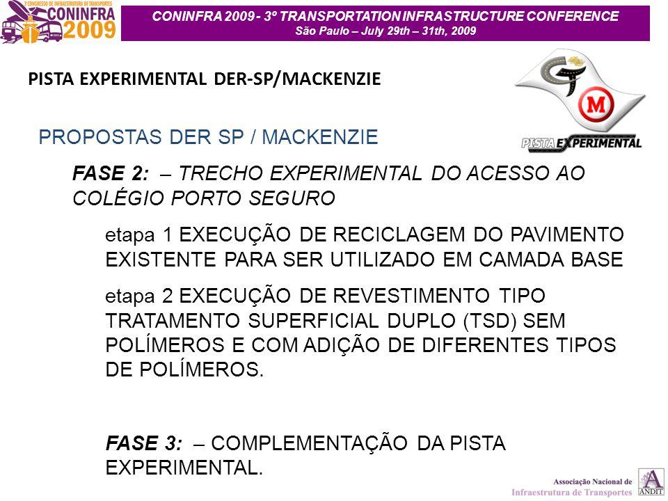7 CONINFRA 2009 - 3º TRANSPORTATION INFRASTRUCTURE CONFERENCE São Paulo – July 29th – 31th, 2009 PISTA EXPERIMENTAL DER-SP/MACKENZIE PROPOSTAS DER SP