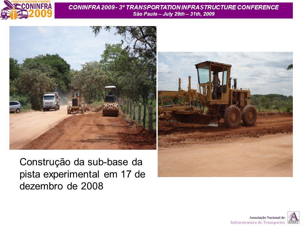 9 Construção da sub-base da pista experimental em 17 de dezembro de 2008 CONINFRA 2009 - 3º TRANSPORTATION INFRASTRUCTURE CONFERENCE São Paulo – July