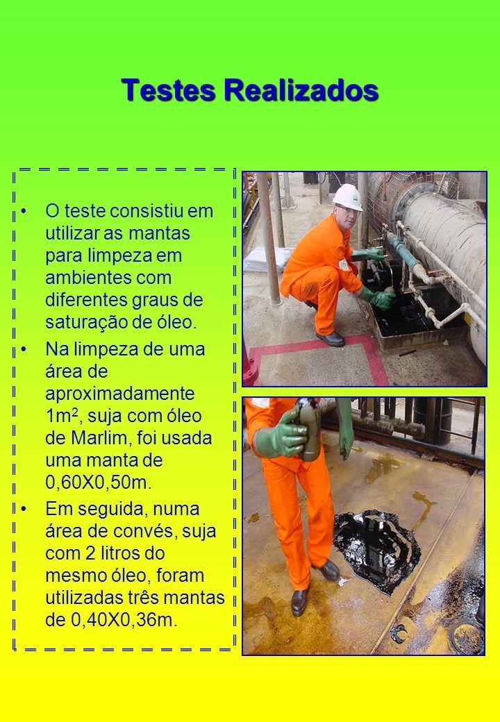 Testes Realizados O teste consistiu em utilizar as mantas para limpeza em ambientes com diferentes graus de saturação de óleo. Na limpeza de uma área