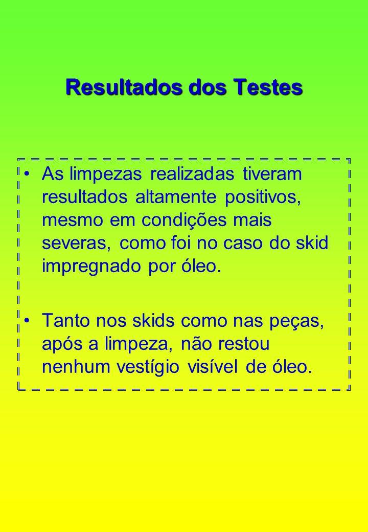 Resultados dos Testes As limpezas realizadas tiveram resultados altamente positivos, mesmo em condições mais severas, como foi no caso do skid impregn