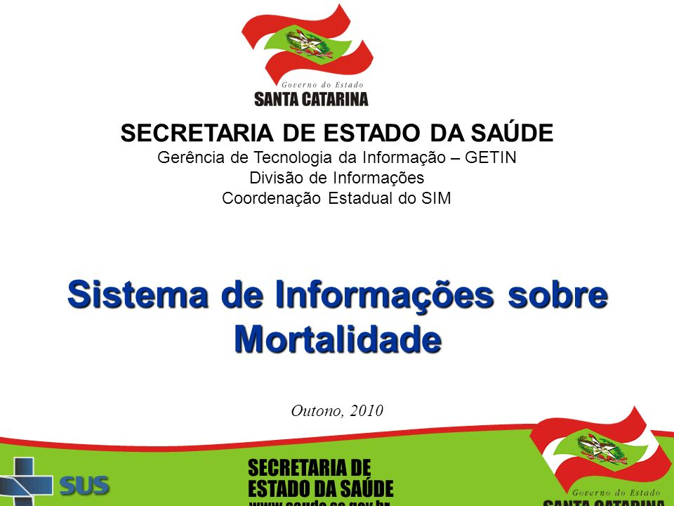 SECRETARIA DE ESTADO DA SAÚDE Gerência de Tecnologia da Informação – GETIN Divisão de Informações Coordenação Estadual do SIM Sistema de Informações s