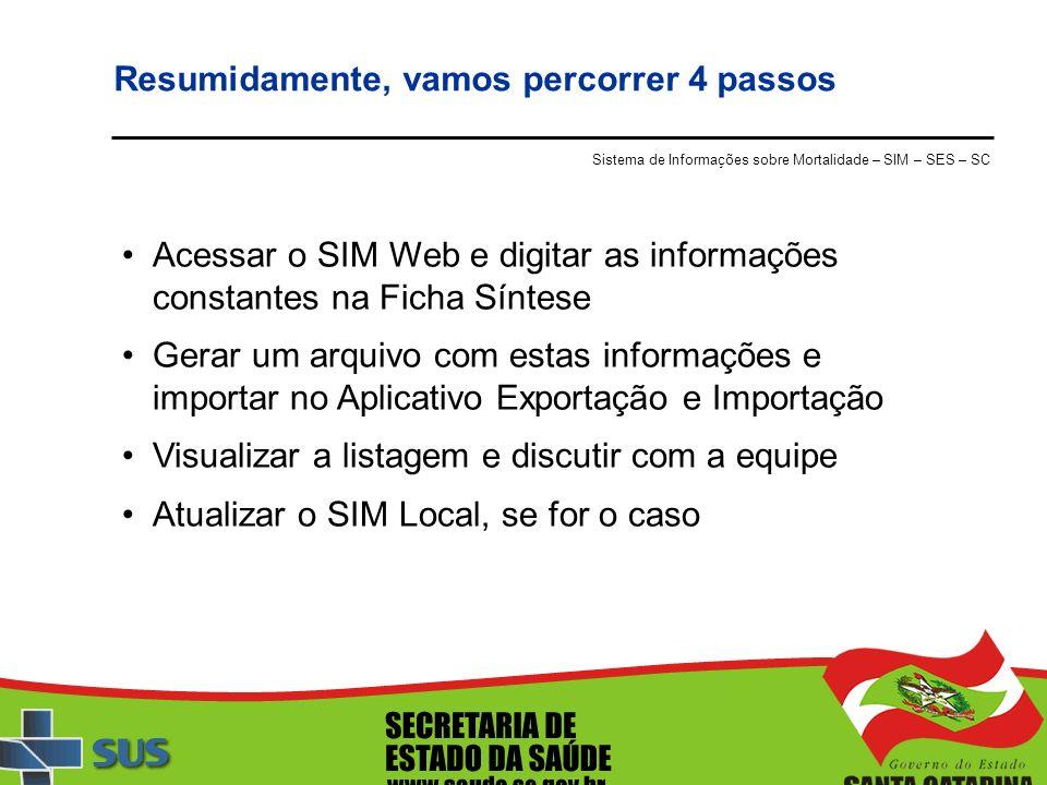 Resumidamente, vamos percorrer 4 passos Sistema de Informações sobre Mortalidade – SIM – SES – SC Acessar o SIM Web e digitar as informações constante