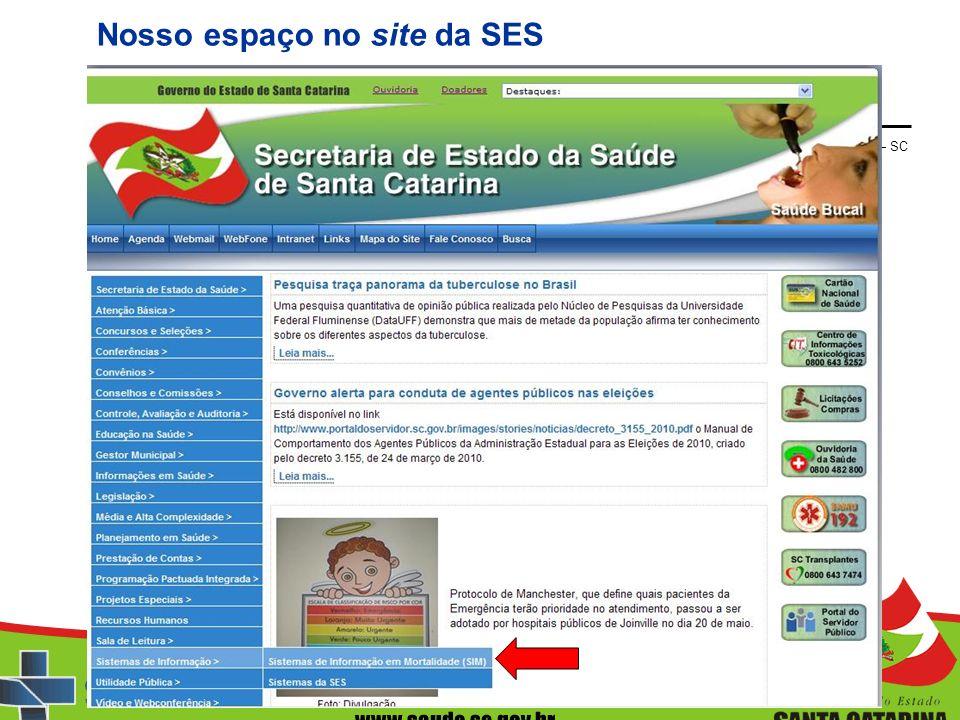 Sistema de Informações sobre Mortalidade – SIM – SES – SC Nosso espaço no site da SES