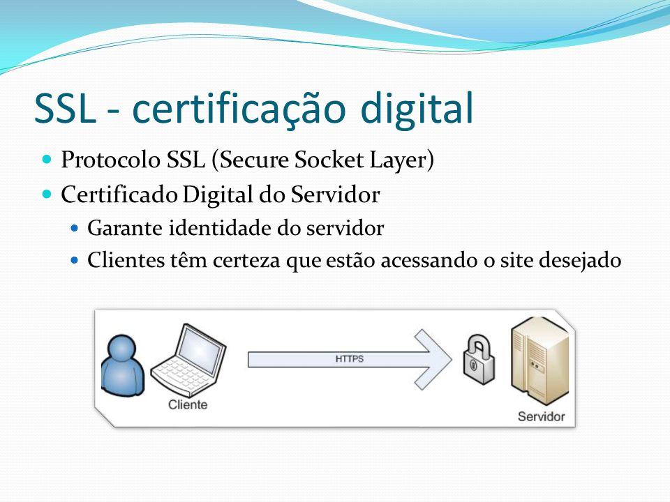 SSL - certificação digital Protocolo SSL (Secure Socket Layer) Certificado Digital do Servidor Garante identidade do servidor Clientes têm certeza que estão acessando o site desejado