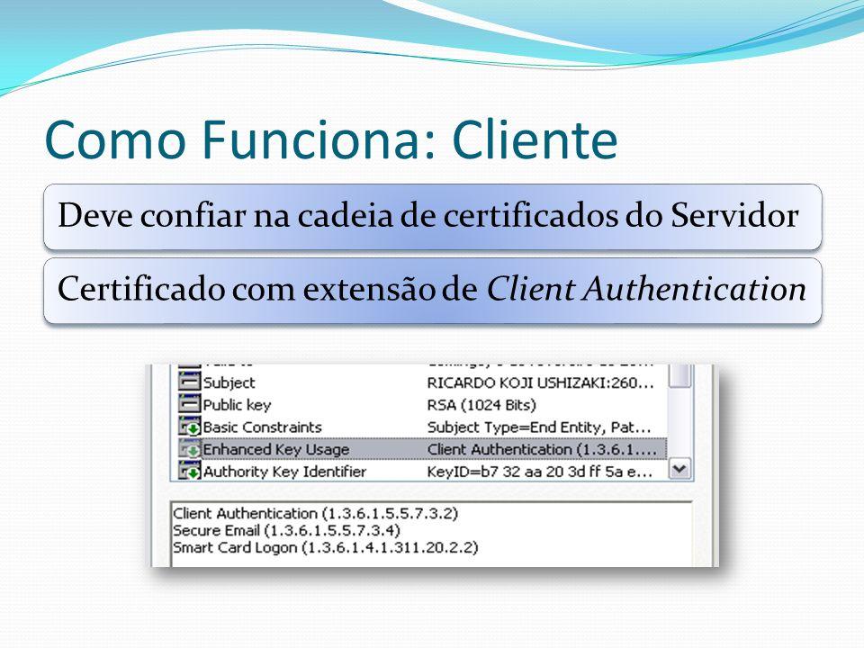 Como Funciona: Cliente Deve confiar na cadeia de certificados do ServidorCertificado com extensão de Client Authentication