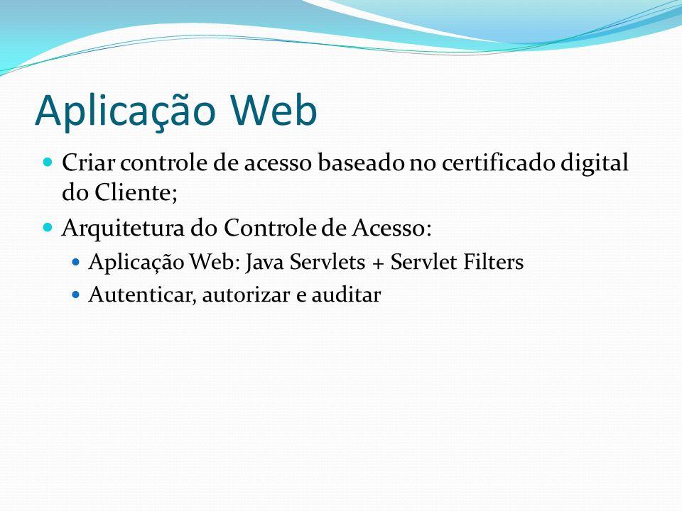 Aplicação Web Criar controle de acesso baseado no certificado digital do Cliente; Arquitetura do Controle de Acesso: Aplicação Web: Java Servlets + Servlet Filters Autenticar, autorizar e auditar