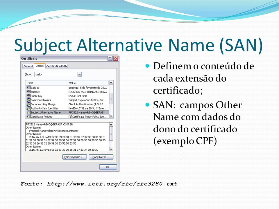 Subject Alternative Name (SAN) Definem o conteúdo de cada extensão do certificado; SAN: campos Other Name com dados do dono do certificado (exemplo CPF) Fonte: http://www.ietf.org/rfc/rfc3280.txt