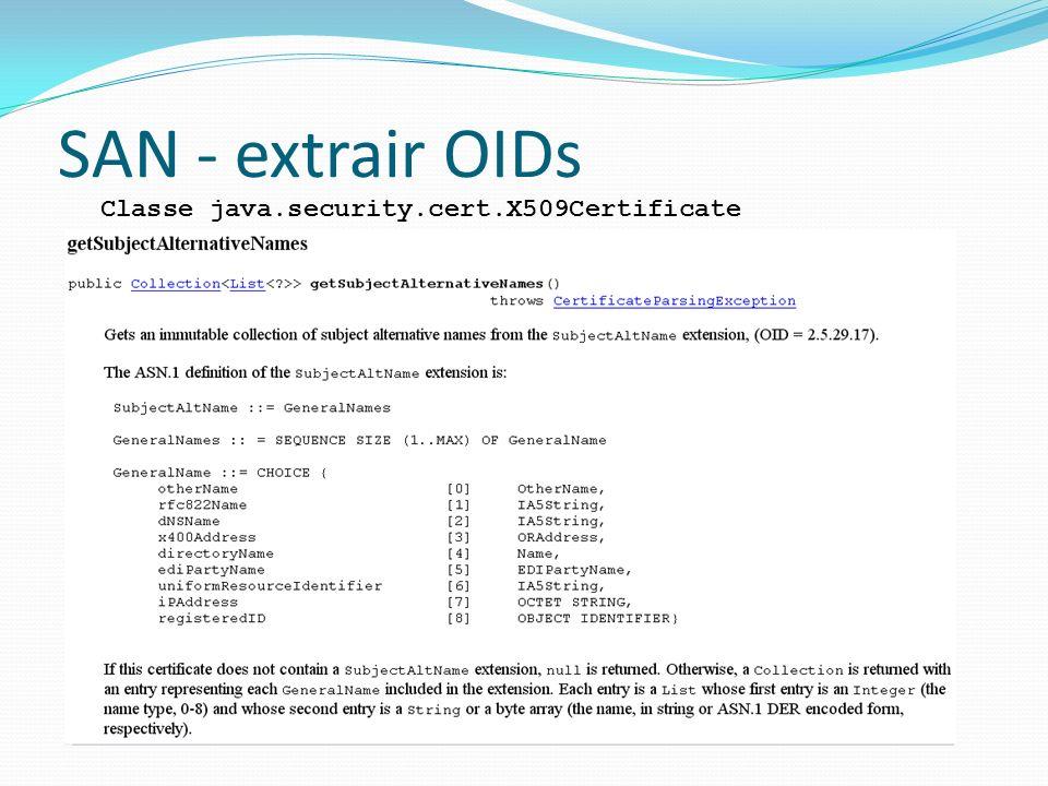 SAN - extrair OIDs Classe java.security.cert.X509Certificate