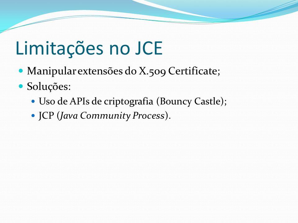Limitações no JCE Manipular extensões do X.509 Certificate; Soluções: Uso de APIs de criptografia (Bouncy Castle); JCP (Java Community Process).