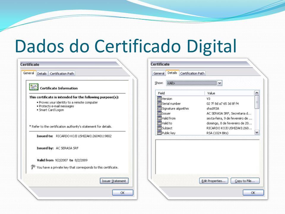 Solução: SSL duplo SSL com autenticação cliente Autenticação mais forte: Cliente sabe algo (PIN) Cliente possui algo (smart card, token) Cliente é ele mesmo (certificado digital)