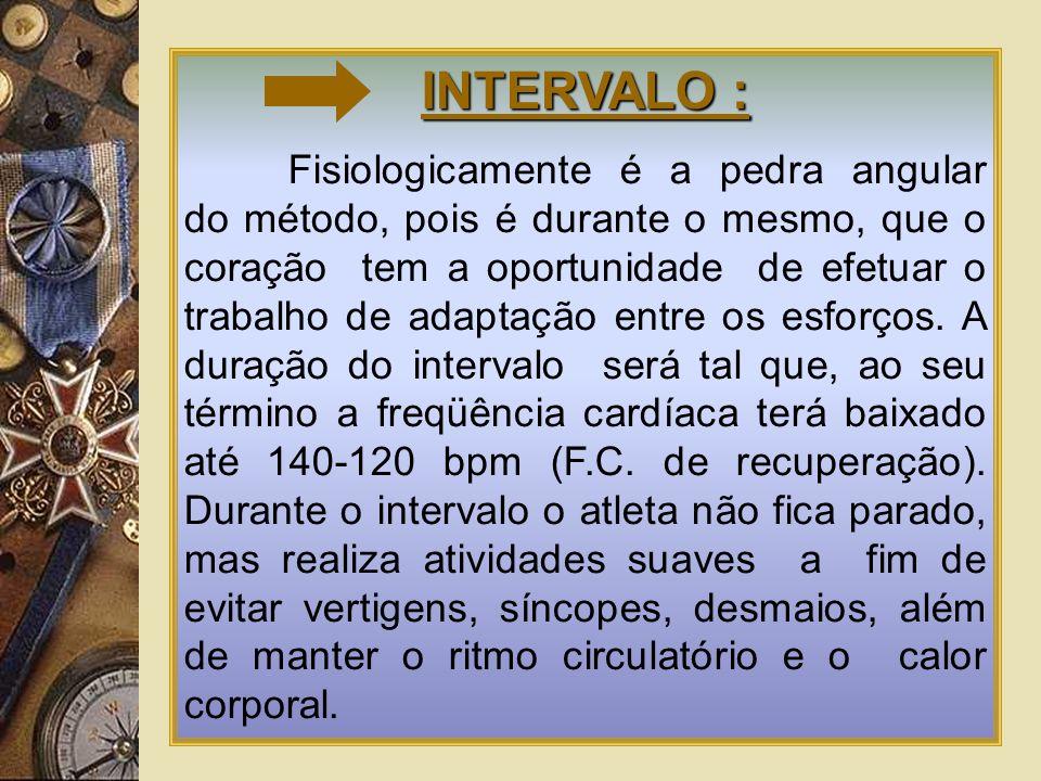 INTERVALO : Fisiologicamente é a pedra angular do método, pois é durante o mesmo, que o coração tem a oportunidade de efetuar o trabalho de adaptação