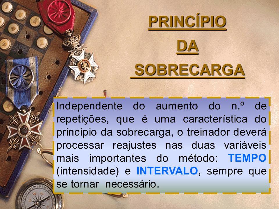 PRINCÍPIO DA SOBRECARGA Independente do aumento do n.º de repetições, que é uma característica do princípio da sobrecarga, o treinador deverá processa