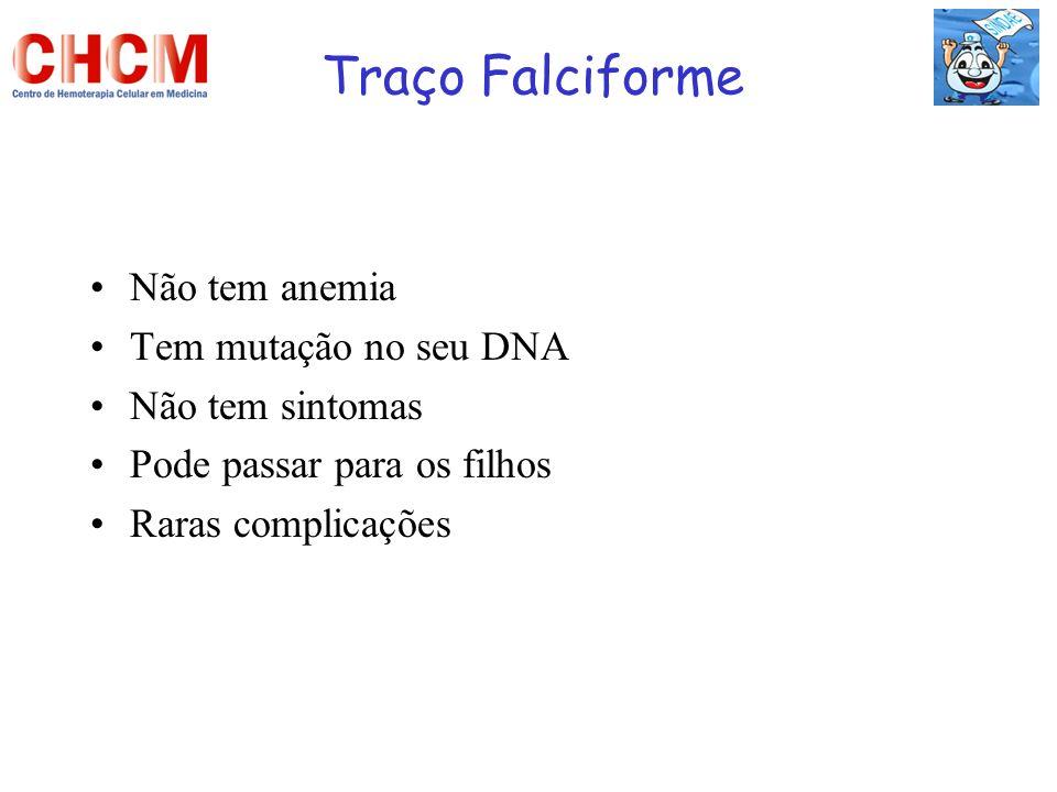 Traço Falciforme Não tem anemia Tem mutação no seu DNA Não tem sintomas Pode passar para os filhos Raras complicações