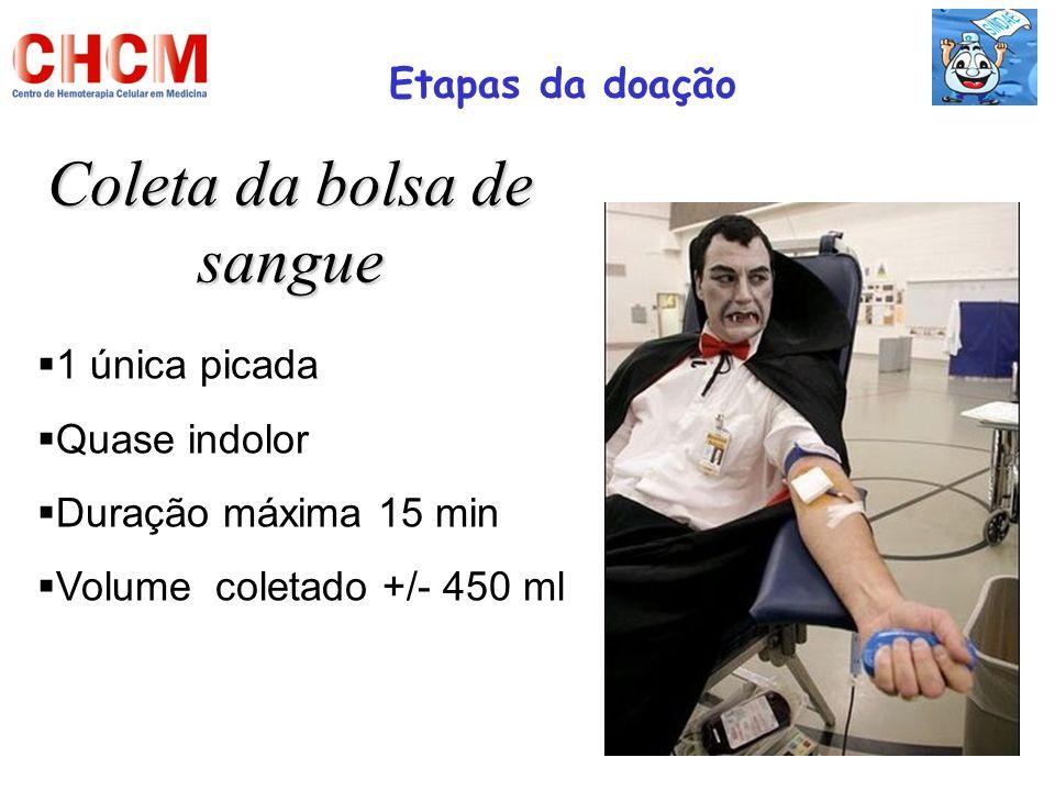 Coleta da bolsa de sangue Etapas da doação 1 única picada Quase indolor Duração máxima 15 min Volume coletado +/- 450 ml