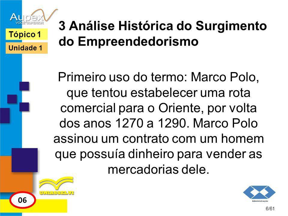 3 Análise Histórica do Surgimento do Empreendedorismo 7/61 Tópico 1 06 Unidade 1 Marco Polo