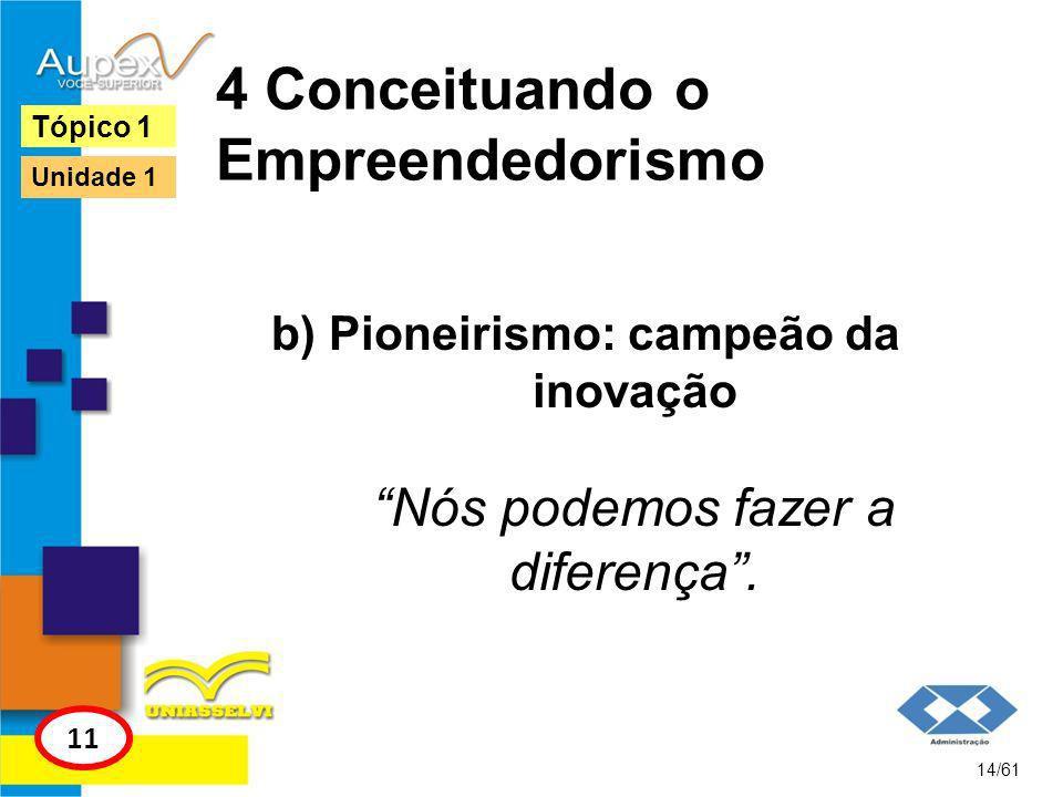 4 Conceituando o Empreendedorismo c) Prática: partir para a ação As atividades do empreendedor são direcionadas para a ação, criação e realização.