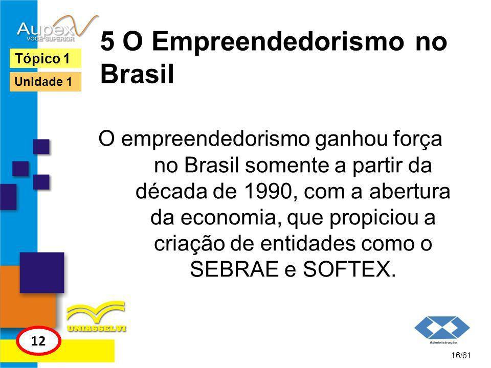 5 O Empreendedorismo no Brasil Apesar do pouco tempo, o Brasil apresenta ações que visam desenvolver um dos maiores programas de ensino de empreendedorismo e potencializa o país perante o mundo nesse milênio.