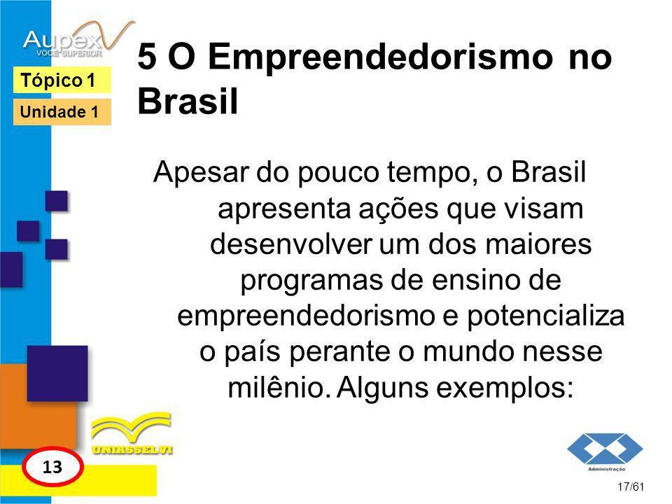 5 O Empreendedorismo no Brasil 1.Os programas Softex e GENESIS; 2.