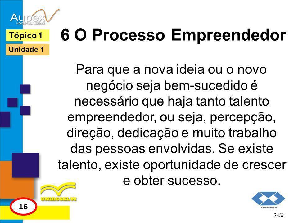 6 O Processo Empreendedor Existe ainda outro processo empreendedor, elaborado por Hisrich (2004), cujo foco é garantir que a empresa ou produto idealizado consiga ser colocado em prática, correndo menos riscos de não ser bem- sucedido.