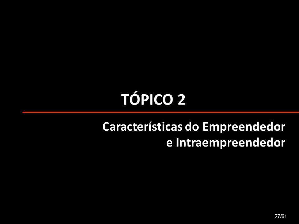 2 Características do Empreendedor Para ser empreendedor é preciso ser perseverante, ter postura otimista, correr riscos calculados, não desistir facilmente.