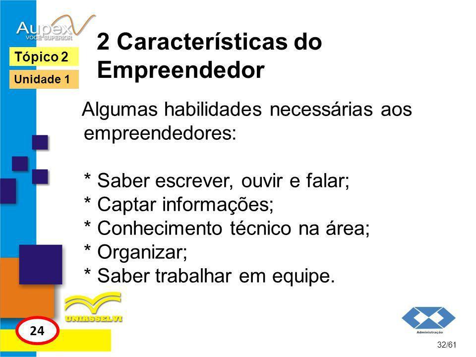 2 Características do Empreendedor Habilidades gerenciais: * Saber criar; * Saber gerenciar nova empresa: marketing, finanças, produção, controle, entre outras habilidades.