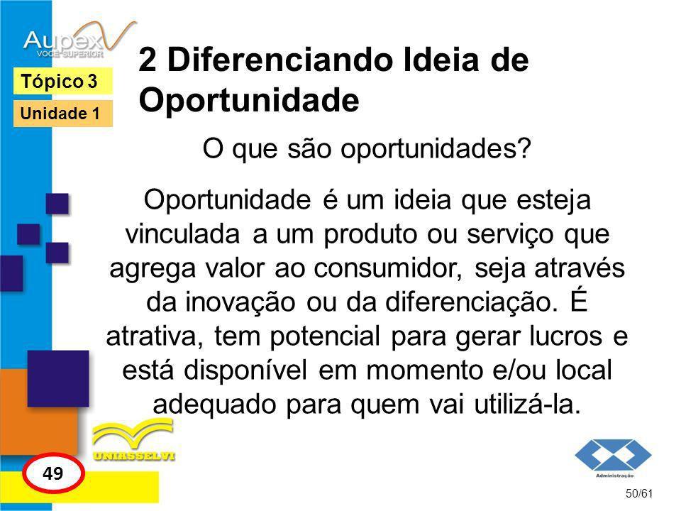 2 Diferenciando Ideia de Oportunidade 51/61 Tópico 3 50 Unidade 1 Atrás de uma oportunidade existe uma ideia, mas só com um estudo de viabilidade se terá o potencial do negócio.