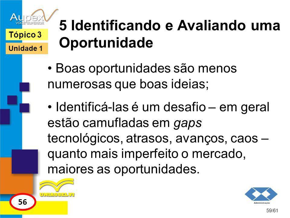 5 Identificando e Avaliando uma Oportunidade 60/61 Tópico 3 56 Unidade 1 Alguns aspectos devem ser analisados ao se avaliar uma oportunidade: Qual mercado ela atende.