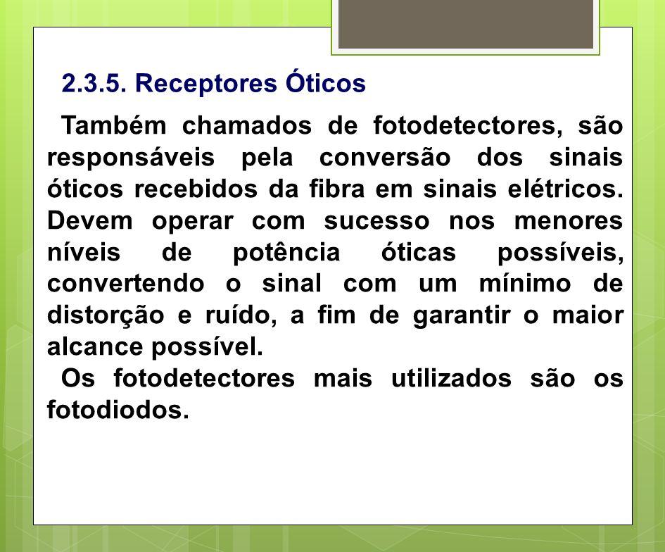 2.3.5. Receptores Óticos Também chamados de fotodetectores, são responsáveis pela conversão dos sinais óticos recebidos da fibra em sinais elétricos.