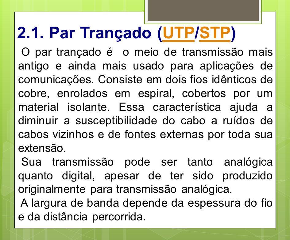 2.1. Par Trançado (UTP/STP)UTPSTP O par trançado é o meio de transmissão mais antigo e ainda mais usado para aplicações de comunicações. Consiste em d