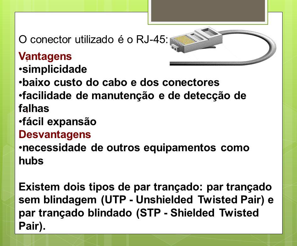 O conector utilizado é o RJ-45: : Vantagens simplicidade baixo custo do cabo e dos conectores facilidade de manutenção e de detecção de falhas fácil e