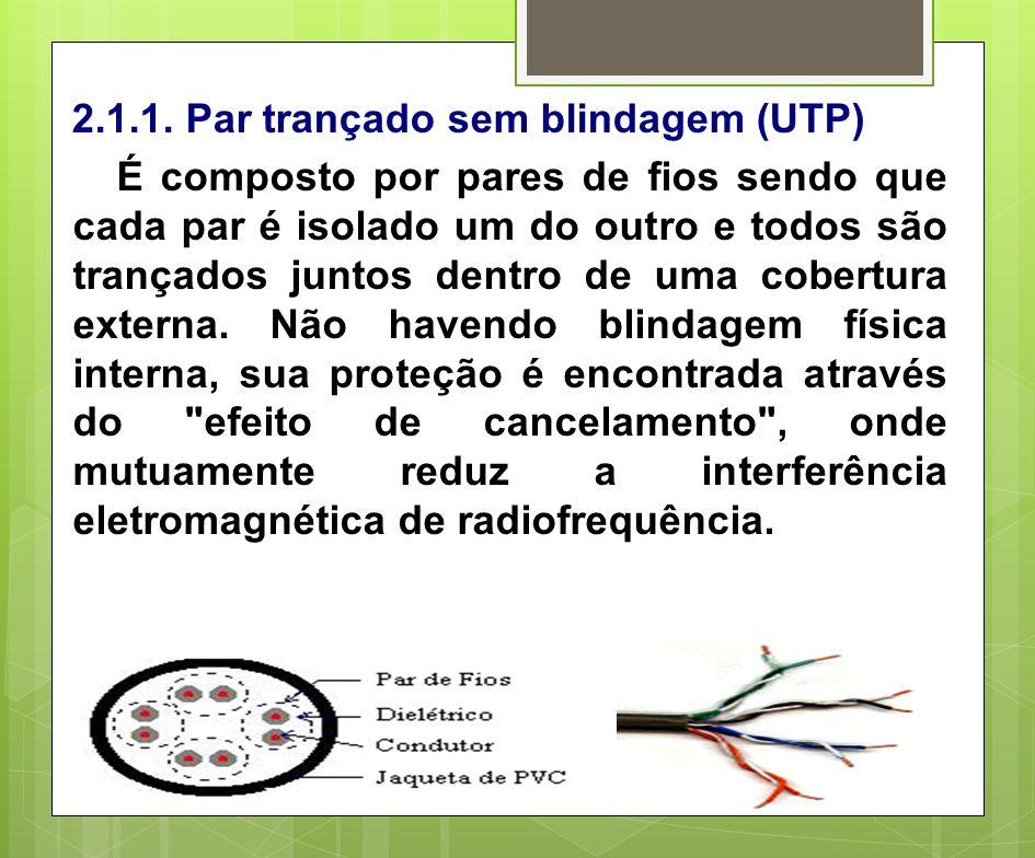 2.1.1. Par trançado sem blindagem (UTP) É composto por pares de fios sendo que cada par é isolado um do outro e todos são trançados juntos dentro de u