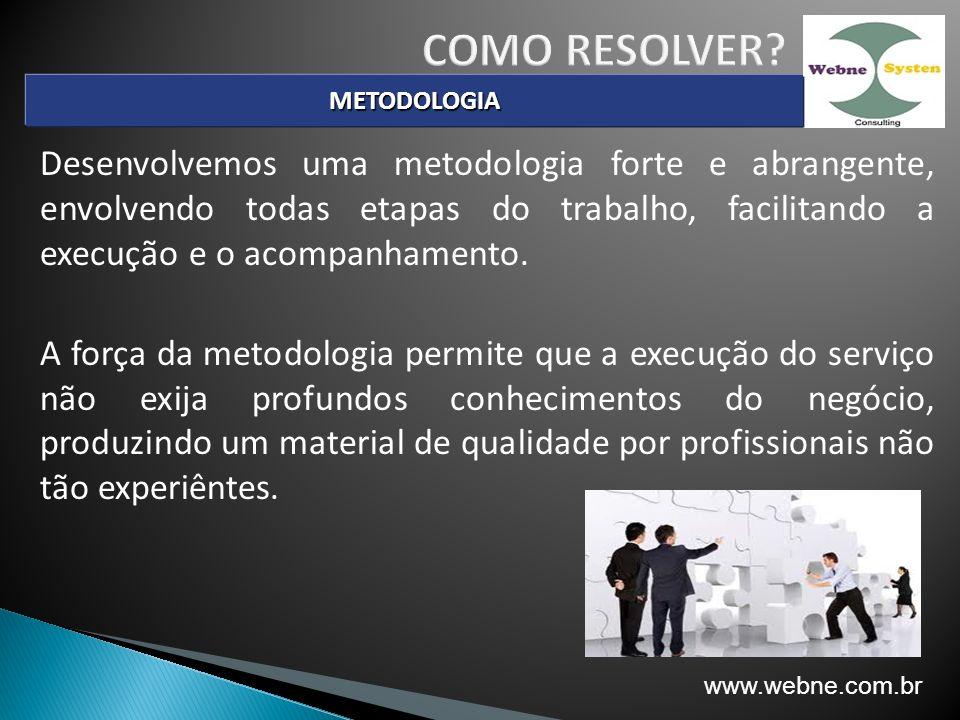 Desenvolvemos uma metodologia forte e abrangente, envolvendo todas etapas do trabalho, facilitando a execução e o acompanhamento.