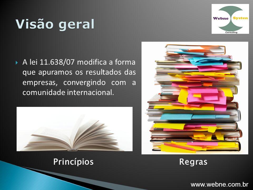 A lei 11.638/07 modifica a forma que apuramos os resultados das empresas, convergindo com a comunidade internacional.