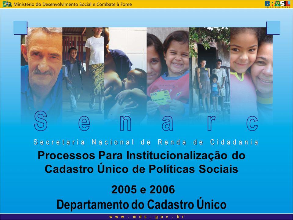 Processos Para Institucionalização do Cadastro Único de Políticas Sociais 2005 e 2006 Departamento do Cadastro Único
