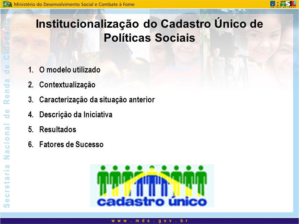 Institucionalização do Cadastro Único de Políticas Sociais 1.O modelo utilizado 2.Contextualização 3.Caracterização da situação anterior 4.Descrição da Iniciativa 5.Resultados 6.Fatores de Sucesso