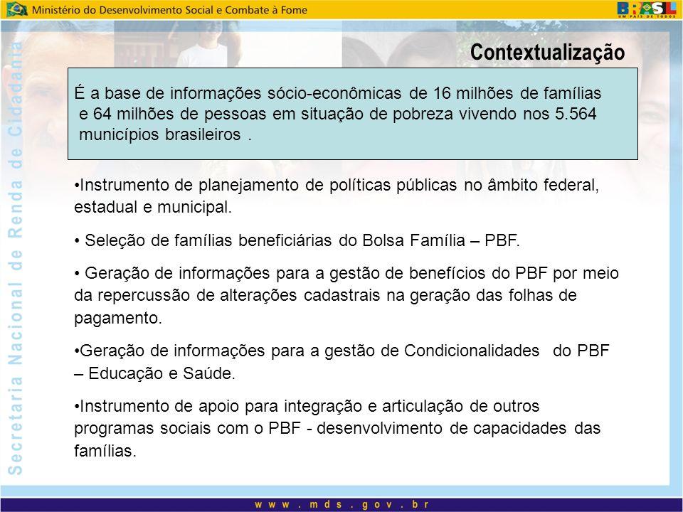 Contextualização É a base de informações sócio-econômicas de 16 milhões de famílias e 64 milhões de pessoas em situação de pobreza vivendo nos 5.564 m