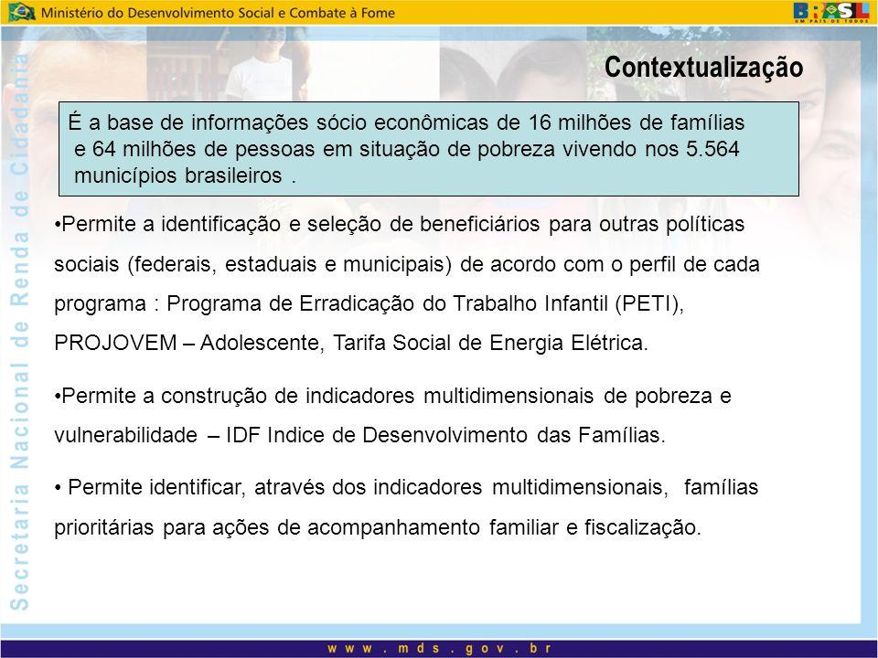 Contextualização Permite a identificação e seleção de beneficiários para outras políticas sociais (federais, estaduais e municipais) de acordo com o p
