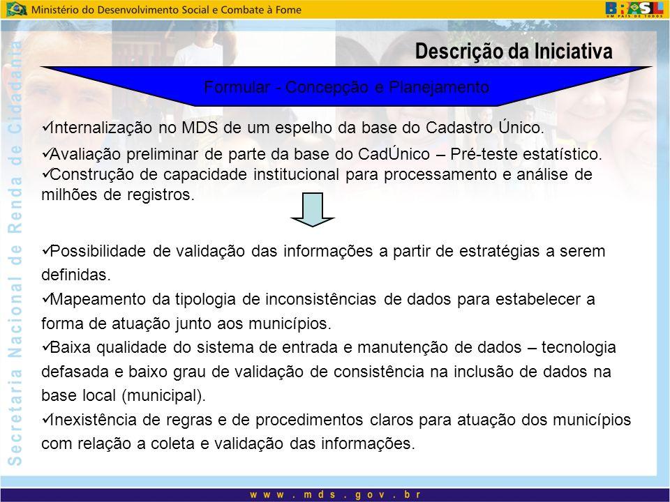 Descrição da Iniciativa Formular - Concepção e Planejamento Avaliação preliminar de parte da base do CadÚnico – Pré-teste estatístico. Construção de c